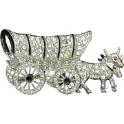 1940s Vintage Rhinestone Conestoga Covered Wagon Wheels Move Book Piece