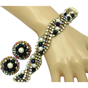 Gorgeous HOBE Rhinestone Crystal Pearl Bracelet and Earrings Set