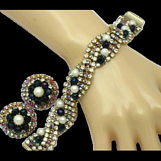 Gorgeous HOBE Rhinestone Crystal Pearl Bracelet and Earrings Set