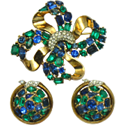 TRIFARI 1950 Jeweled Symphony  Brooch and Earring Demi Parure Set