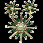 MAZER STERLING Vintage 1940s Star Snowflake Emerald Rhinestone Brooch and Earrings Set