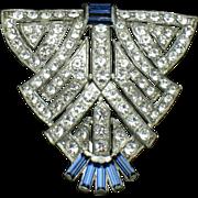 ART DECO Diamante Crystal Sapphire Shield Dress Clip Pin
