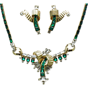 Early  MAZER BROS Faux Emerald Diamond Rhinestone Necklace and Earrings