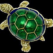 CINER Metallic Enamel Rhinestone High Domed Turtle Figural Brooch Pin