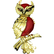 TRIFARI  Red Lucite Owl Figural Brooch
