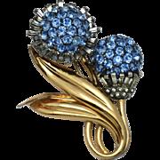 PENNINO Sterling 1940s Rhinestone Flower Brooch Pin