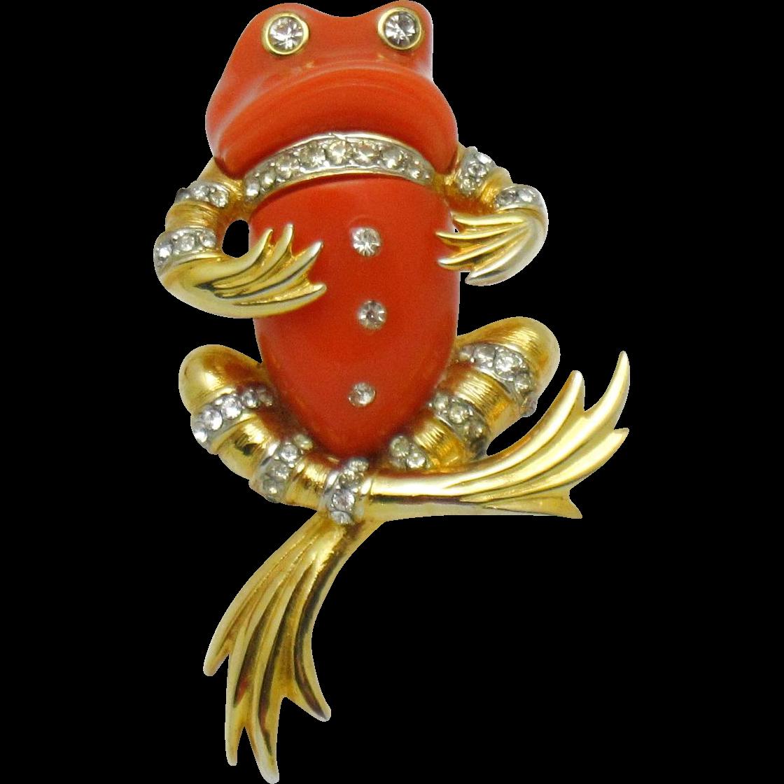 Boucher Black Flower Rose Pin Brooch Signed Numbered: BOUCHER 1968 Lucite Rhinestone Dandy Frog Figural Brooch