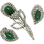 Signed KRAMER  Calla Lily Brooch and Earring SET Czech Porphyr Glass