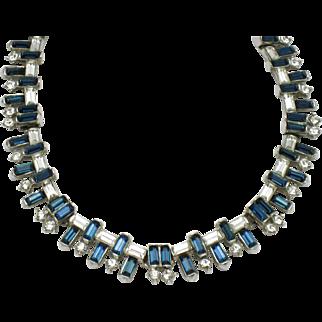 TRIFARI  1957 Jeweled Horizon  Necklace Sapphire  Baguette Rhinestone Beauty