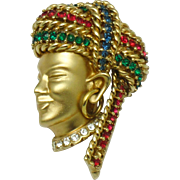 Rare BOUCHER Figural Brooch Rhinestone Asian Deity Pin