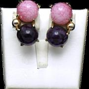 Signed  SCHIAPARELLI  Gumdrop Vintage Glass Cabochon Clip Earrings