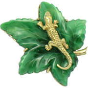 CINER  Alligator Crocodile on Leaf Figural Brooch Pin
