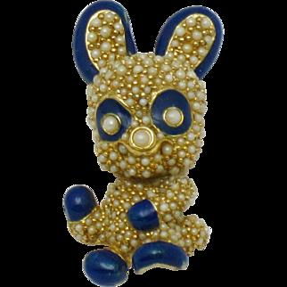 Vintage Ciner Figural Brooch  Figural Panda Bear Pin Rare