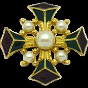 TRIFARI Enamel Faux Pearl Purple Green  Maltese Cross Brooch