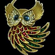 TRIFARI Alfred Philippe 'Firebirds' Vintage 1960s Owl Brooch Pin