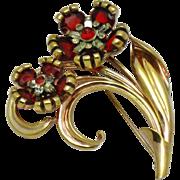 PENNINO Sterling Vermeil Ruby Diamond Rhinestone Flower Brooch Pin