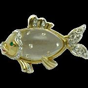 1949 Patented CORO Katz Jelly Belly Spangled Fish Lucite Rhinestone Brooch Pin