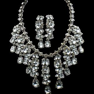 SCAASI Vintage Bridal Crystal Rhinestone Necklace and Dangle Earrings SET