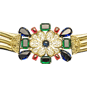 Signed SCHREINER Vintage Rhinestone Filigree Gold Plated Flexible Belt