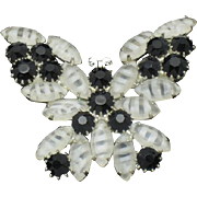 Vintage Givre Glass Rhinestone Butterfly Figural Brooch