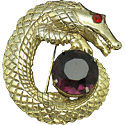 Vintage Alligator Amethyst Gold Plated Figural Brooch Pin