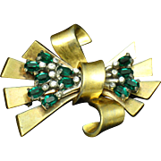Vintage PENNINO Emerald Green Crystal Rhinestone Bow Ribbon Brooch