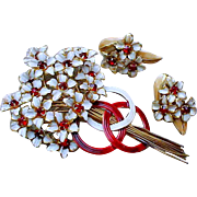 SANDOR Vintage  Floral Flower Brooch Earring Demi Set