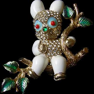 Very Rare CINER Rhinestone Enamel Figural Brooch Panda Bear Pin
