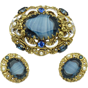 Signed WEST GERMANY Art Glass Rhinestone Brooch Earrings Demi Set