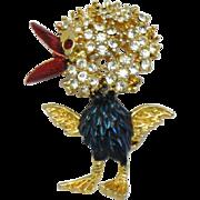 SPHINX England Baby Chick Rhinestone Enamel Figural Brooch Pin