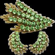Signed BSK Peridot Rhinestone Seed Pearls Brooch Earring Demi Set