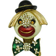 CINER Enamel Rhinestone Clown Face  Figural Brooch Pin
