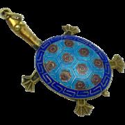 Vintage Antique Chinese Export Cloissone Enamel  Silver Gilt Turtle Figural Pendant