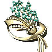 Vintage Signed PENNINO STERLING Emerald Ice Rhinestone Flower Brooch Pin 1940s