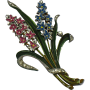 TRIFARI Alfred Philippe 1941 Enameled & Pave Double Hyacinth Fur Clip Pin