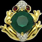 Vintage Rhinestone Glass Figural Frog Brooch