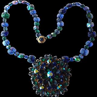 ALICE CAVINESS Emerald Green and Blue Rhinestone Pendant Necklace