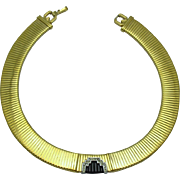 Signed GIVENCHY 1980s Gold Plated Wide Rhinestone Flexible Necklace