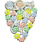 Early  Fruit Salad Rhinestone Pot Metal Flower Dress Clip Pin