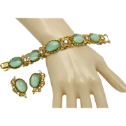 ALICE CAVINESS Estate Mint Green Moonstone Rhinestone Bracelet Earring Set