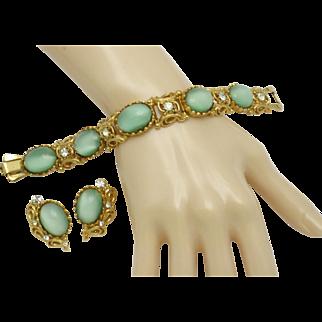 ALICE CAVINESS Estate Mint Green Moonstone Rhinestone Bracelet Earring Set