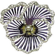 Boucher Purple Metallic  Enamel Pearl Rhinestone Pansy Brooch Pin 1950