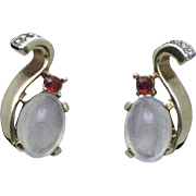 CROWN TRIFARI 1945 Philippe Moonstone Rhinestone Earrings