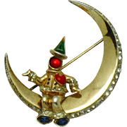 1945 Gold Plated STERLING CORO CRAFT Pegasus  Man in the Moon Brooch Pin