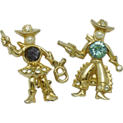 1940s Rare Signed CORO Rhinestone Figural Cowboy Cowgirl Scatter Pins