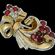 MB BOUCHER 1940s Ruby Red Ribbon Flower Fur Clip Pin