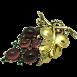1945  TRIFARI Philippe Sterling Gold Plated Purple Glass Cabochon Grapes Fur Clip Pin