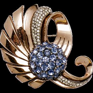 PENNINO STERLING Rose Gold Blue Rhinestone Brooch Pin 1940s
