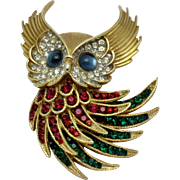 CROWN TRIFARI Firebird Rhinestone Cabochon Horned Owl Brooch 1964