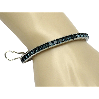 CINER Sapphire Rhinestone  Invisibly Set Tennis Bracelet